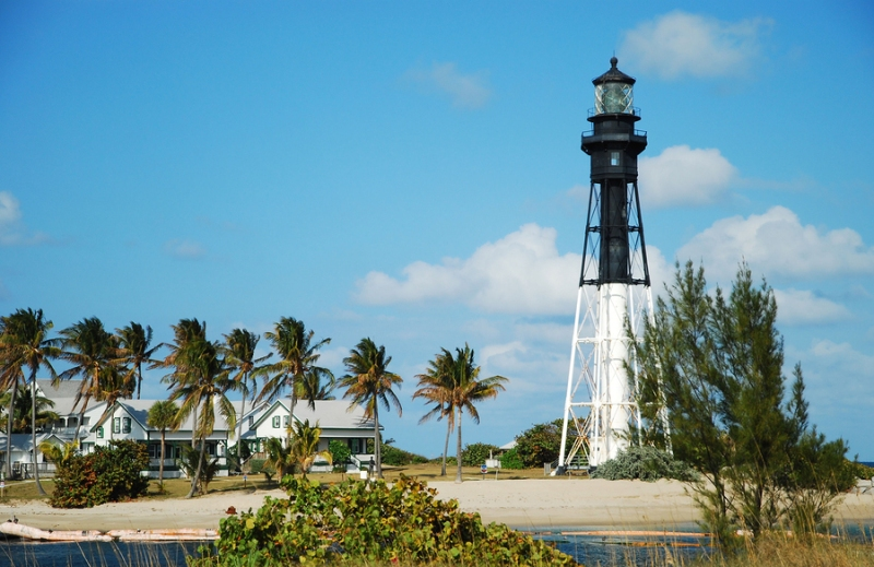 The Hillsboro Inlet Lighthouse as seen from Lighthouse Point, Florida