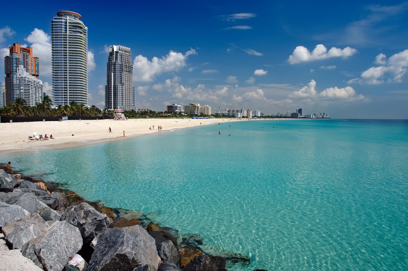 The skyline of Miami Beach, Florida