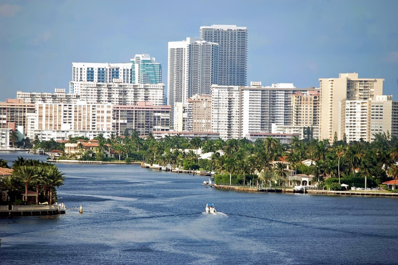 The skyline of North Miami Beach, Florida