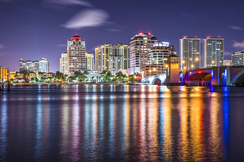 The skyline of West Palm Beach, Florida